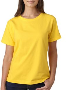 la t ladies' combed ring-spun jersey t-shirt - yellow (xl)