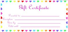 Blank Certificates to Print | looking for blank gift certificates with different wording please drop ...