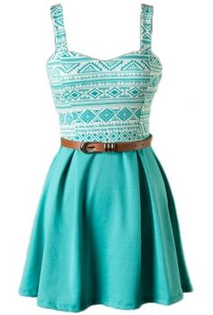 Sleeveless skater dress with belt