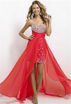 Lovely High Low Sweetheart Beadings Chiffon Satin Prom Dress PD2769 www.simpledresses.co.uk £129.0000
