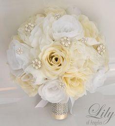 17 pieza paquete flores boda ramo de Novia de fiesta novia Bouquets artificiales…