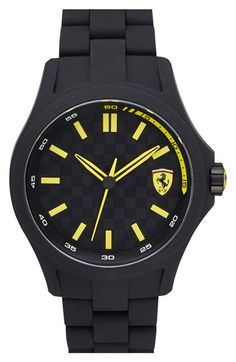 Scuderia+Ferrari+'Pit+Crew'+Silicone+Bracelet+Watch,+45mm+available+at+#Nordstrom