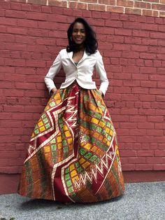 Africaine impression Maxi Skirt jupe Maxi Mel : par CHENBURKETTNY
