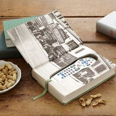 •❈• Upcycle an old book into storage for your remote control!