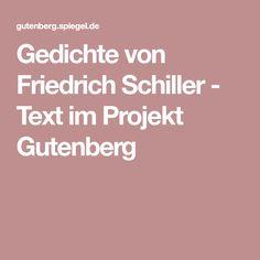 Gedichte von Friedrich Schiller - Text im Projekt Gutenberg