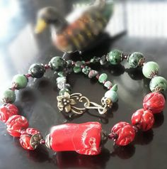 Coral red dyed , turqouist Necklace