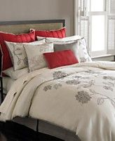 Guest bedroom bedding. Neutrals and greys and no reds. Keep everything white, ivory, and grey. Maybe a pop of color for the accent pillow. Green or blush pink.