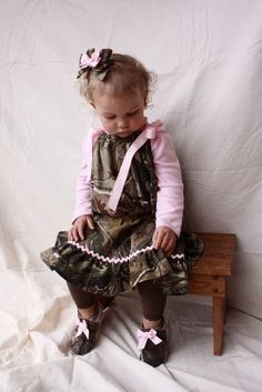 Cute camo pillowcase dress with pink ribbon and rickrack.