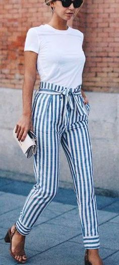 White Tee & Striped Pants & Brown Sandals