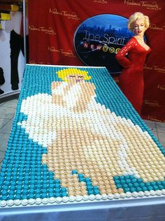 Marilyn Monroe in cupcake form for her birthday (June 1st)! Over 2,000 cupcakes by Baked by Melissa at Madame Tussaud's Wax Museum in New York  | This image first pinned to Marilyn Monroe Art board, here: http://pinterest.com/fairbanksgrafix/marilyn-monroe-art/ || #Art #MarilynMonroe