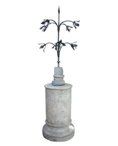 Hollyhock | French Church Spire in Bronze in a Cast Stone Base. Reproduction of a 16th c. Fleur-de-Lis Architectural Artifact. Composite Stone Pedestal.