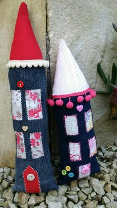Old jeans....New life...cute Fairy houses by sandysosew