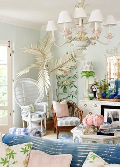 rebecca de ravenel's beach bohemian living room with preppy whimsical details| house tour on coco kelley