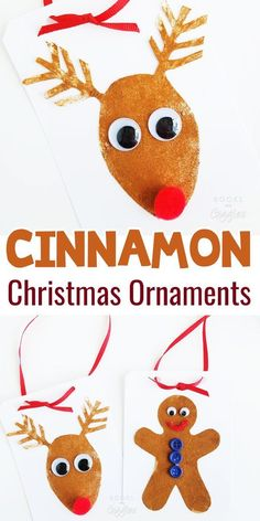 Start Out Your Very Own Sewing Company Kids Christmas Ornaments Made With Real Cinnamon. These Are Easy Enough For Toddlers And Preschoolers To Make. Via Booksandgiggles Christmas Activities For Kids, Winter Crafts For Kids, Preschool Christmas, Crafts For Boys, Craft Activities For Kids, Preschool Crafts, Preschool Ideas, Daycare Crafts, Classroom Activities