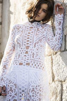 the one who knows – nevenka French Seam, French Lace, White Lace Mini Dress, Needle Lace, Glamour, Boho Bride, White Long Sleeve, Bridal Style, Cotton