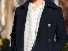 Navy peacoat | white endless button down shirt | Heather grey silk scarf | black ankle zipper jeans | bow ballet flats | www.shoppingmycloset.com     @jcrew #jcrew @loft #loft @vincecamuto #vincecamuto