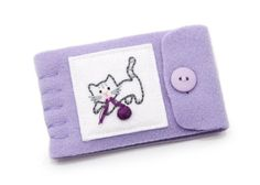 Kitty Cat Needle Book, Small Wool Needle Case, Light Purple, Kitten and Yarn, Felt Pages, Travel Sewing Kit. $16.00, via Etsy.