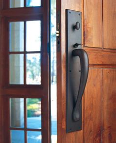 Rectangular Thumblatch Entry Set Architectural Hardware by Rocky Mountain Hardware: Thumblatch entry set with the Rectangular escutcheon and Gooseneck grip shown in silicon bronze, dark patina. Exterior Door Hardware, Home Hardware, Exterior Doors, Cabinet Hardware, Door Knobs, Door Handles, Comfy Cozy Home, Retractable Door, Garage Door Opener Remote