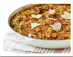 "Low FODMAP Recipe: Baked Spanish risotto  ***Looks almost more like a baked paella with chicken, chorizo and shrimp (""prawns"")"