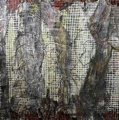 "Darning Memories, Encaustic and gauze on panel, 24"" x 24"", Anna Wagner-Ott"