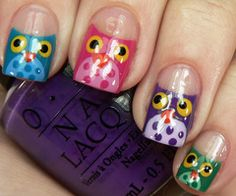 OWLS!!!!!   So cute! Now this is what I want my nails to look like!!