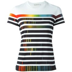 Mary Katrantzou rainbow stripe print T-shirt ($495) ❤ liked on Polyvore featuring tops, t-shirts, shirts, blusas, white, short sleeve tee, white shirt, round neck t shirt, colorful shirts and print t shirts