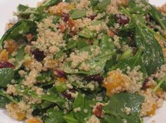 quinoa salad with butternut squash, spinach, cranberries, and pecans