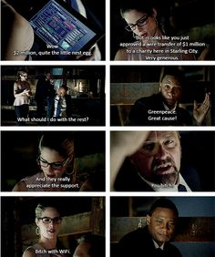 Arrow - Felicity & Diggle Bitch with wifi always wins Arrow Felicity, Arrow Cw, Oliver And Felicity, Team Arrow, Felicity Smoak, The Cw Shows, Dc Tv Shows, Supergirl Dc, Supergirl And Flash