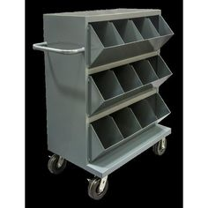 All welded, heavy duty 14 gauge steel construction. Bin opening incorporates a slope design. Perfect for storing and transporting supplies, stock and tools in areas such as garages, job shops and manufacturing facilities. Shop Storage, Storage Cart, Garage Storage, Storage Bins, Storage Drawers, Diy Storage, Printer Storage, Storage Design, Shelf Design