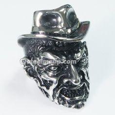 Stainless Steel Evil Freddy Krueger Men Biker Ring