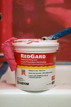 RedGard Waterproofing and Crack Prevention Membrane Shower Pan Liner, Bathroom Renos, Bathroom Ideas, Quick Dry, Modern Bathroom, Tile Floor, Ceiling, Flooring, Décor Ideas