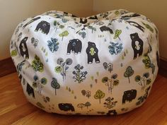 Bean Bag Chair Cover Modern FLORAL Readers Nest By Windownook