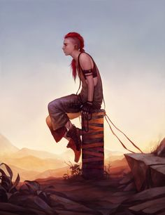 Red, The Fighter (Backstory Illustration) by Tvonn9 female redhead hair braids armor clothes clothing fashion player character npc | Create your own roleplaying game material w/ RPG Bard: www.rpgbard.com | Writing inspiration for Dungeons and Dragons DND D&D Pathfinder PFRPG Warhammer 40k Star Wars Shadowrun Call of Cthulhu Lord of the Rings LoTR + d20 fantasy science fiction scifi horror design | Not Trusty Sword art: click artwork for source