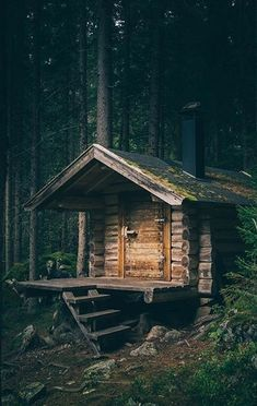 Exciting Concepts to create your dream log cabin home in the mountains or next to a creek. A must-have to take refuge from our crazy life. Old Cabins, Tiny Cabins, Tiny House Cabin, Log Cabin Homes, Cabins And Cottages, Cabins In The Woods, House In The Woods, Casa Viking, Forest Cabin