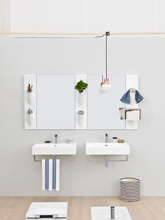 Barra in ceramica porta accessori Sotto Sopra con specchio e lavabo sospeso Block, design Meneghello Paolelli Associati. #sanitari #sanitaries #design #bathroom #ArtCeram #decor