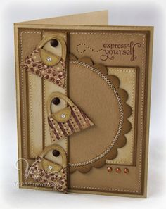 I love the use of kraft card stock and different shades of brown. Could substitute flowers or some other diecut in place of the purses to use this card for many things