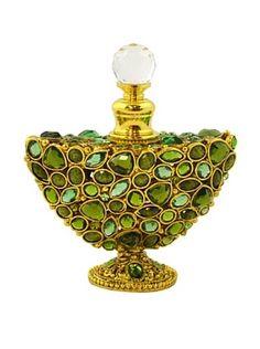 Hand-Set Crystal Crescent Perfume Bottle (Green) (39)