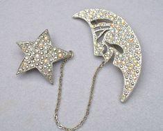 "Rhinestone Large Art Deco Style Moon Star Jewelry by silvermoonstars Moon: 2.8' x 1.2"" Star: 1.5""     $29.00    SOLD"