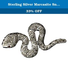 Sterling Silver Marcasite Snake Pin. * Sterling Silver Marcasite and Crystal Eyes Snake Pin * Stamped 925 * Weight 11.0 grams (approximate) * This item is suitable for all occasions, holidays, and for personal use * Product is shipped in a nice presentation box * TG# AC013.