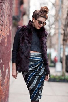New York City Fashion and Personal Style Blog: Fur vest, cashmere crop top, asymmetrical skirt, suede booties