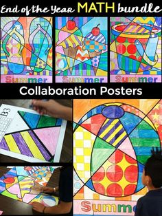 End of the year math is really fun when kids get to make art too. This resource is a bundle of my 4 summer collaboration math posters all in one.