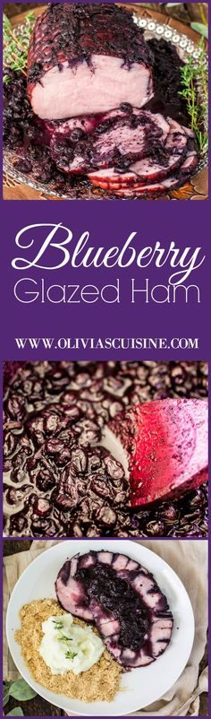 Blueberry Glazed Ham | www.oliviascuisine.com | Blueberries make the most perfect glaze for you Thanksgiving (or Christmas) Ham! (Sponsored by the U.S. Blueberry Council)