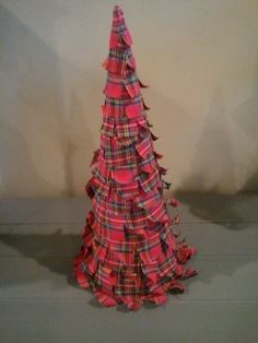 Diy fabric CHRISTmas tree. Plaid CHRISTmas.