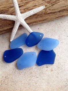 Mixed lot of blues  Sea glass supplies -6 piecesCultured seaglass bead,beach glass beads,Double hole,drilled,free form. Use for pendants, Jewelry
