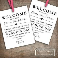 Custom Printable Wedding Welcome Bag Tags by RachelsPrintables