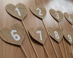 Burlap Table Numbers,rustic wedding table numbers, shabby chic table numbers, burlap wedding reception table decor.