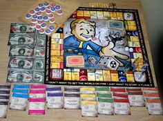 Hand made fallout themed monopoly set Monster Hotel, Vault Tec, Fallout Game, World On Fire, Comic Games, Crafts To Do, Monopoly Board, Monopoly Game, Nerdy