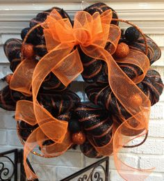 Halloween Door Wreath - Classic Orange & Black Halloween/Fall with Glitter Balls Door Wreath. $60.00, via Etsy.