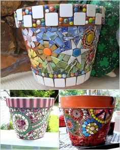 12 DIY Mosaic Garden Decor Projects - All For Remodeling İdeas Mosaic Garden Art, Mosaic Flower Pots, Mosaic Pots, Mosaic Glass, Mosaic Crafts, Mosaic Projects, Garden Projects, Diy Cement Planters, Ladybug Art