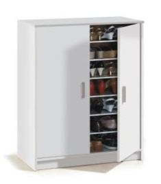 This contemporary Large White Shoe Storage Cabinet / Shoe Organizer offers the perfect place to store your shoes, with 6 adjustable shelves to make space for taller boots and heels. Shoe Storage Cabinet White, Shoe Cupboard, Shoe Cabinet, Cupboard Storage, Locker Storage, Furniture Makeover, Furniture Decor, Furniture Design, Bedroom Furniture
